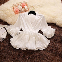 2018 spring and summer new female Deep V-neck ruffles lace up  women blouses