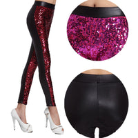 New 2018 Sexy Fashion Stage Women Girl Nightclub Singer Bag Hip Glittering Sequins Leggings Elastic Slim Candy Color Pants