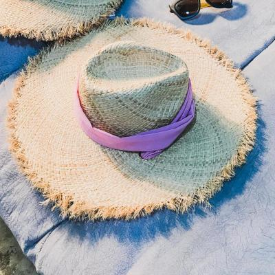 2019 Simple Girls Raffia Sun Hats for Women Stripe Ribbon Lace Up Large Brim Straw Hat Outdoor