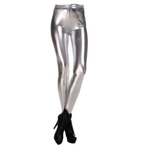 Fashion Women Leggings Shiny Metallic Color Elastic Waist Skinny Sexy Pencil Pants