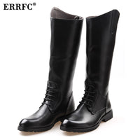 ERRFC Fashion Designer Black Long Knee Boots Men Round Toe Riding Boot Cowboy
