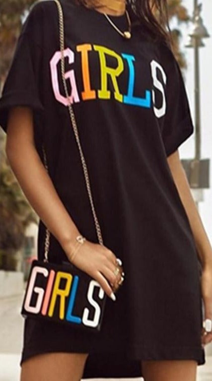 Fashion Black T Shirt Dress Women 2018 Summer Girls Letter Print O Neck Short Sleeve Mini Day Dresses Loose Short Casual Dresses