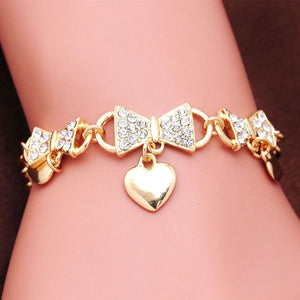 Classic Love Heart Charm Bracelets for Women CZ Crystal Bowknot Chain