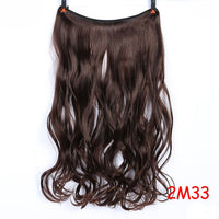 SHANGKE  22'' Invisible Wire No Clips in Hair Extensions Secret Fish Line Hairpieces Silky Straight real natural Synthetic