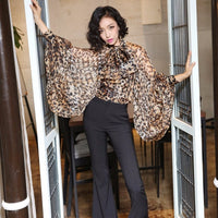 TWOTWINSTYLE Leopard Shirt Female Chiffon Lace Up Bow Lantern Sleeve Oversize Blouse Top For Women Summer Fashion Sexy Clothing