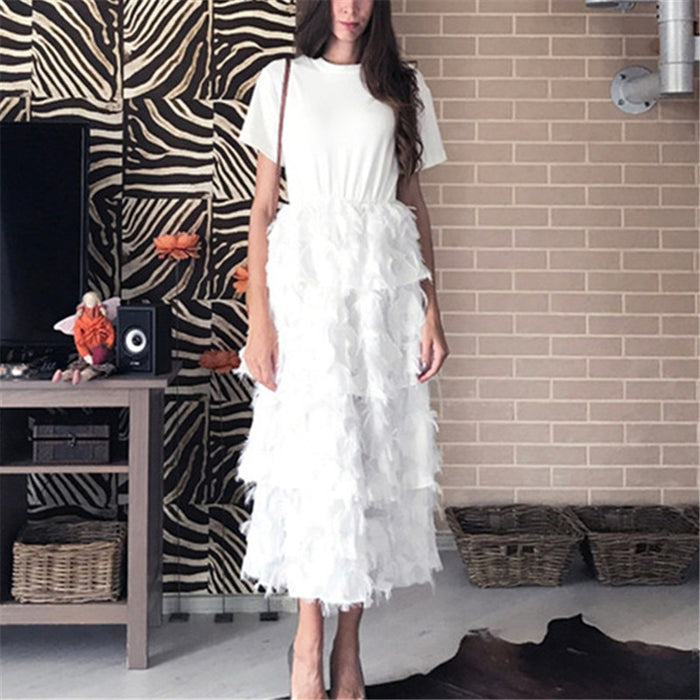 RUGOD 2019 Fashion T-shirt Patchwork Style Cake Dress Women Slim Feather