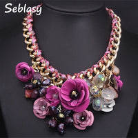 Seblasy Collier Chunky Gold Color Chain Handmade Braided Crystal Flowers