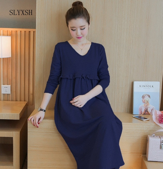 High Neck Knitted Cotton Maternity Dress 2017 Spring Fashion Long Sleeve