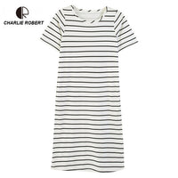 CR New Women's Casual Cotton Sleepwear Plus Size Pink Striped Nightgown O-neck Lounge Summer Dress
