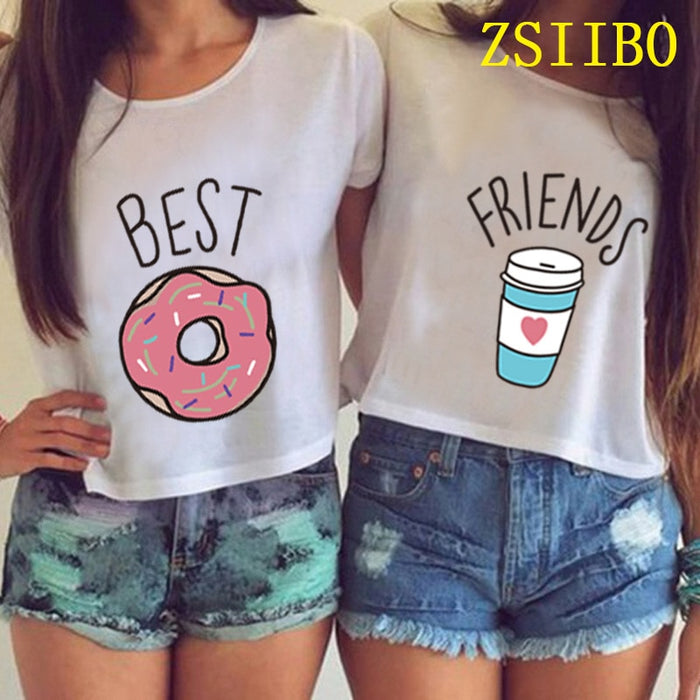 T Shirts ZSIIBO Women Fashion Casual O Neck Short Sleeve Printed Ladies shirt Hamburg Chips Best Friends Sexy Tops