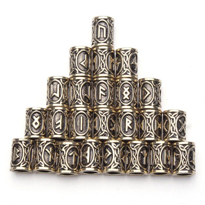 24pcs Hair Braid Dread Dreadlock Beads Clips Cuff Viking Rune Pattern Copper Ring