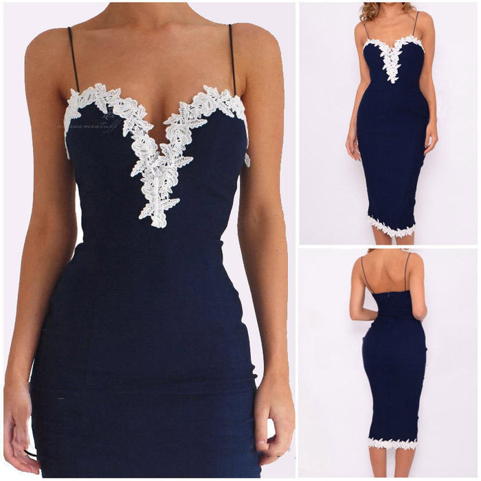 Sexy Women Lace Bodycon Cocktail Party Pencil Dress Strap Floral V-Neck Knee-Length Dress