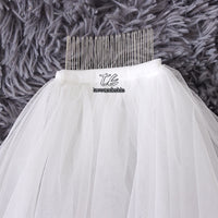Top Quality Cut Edge Two Tier White/Ivory Puffy Tulle Bridal Veil Fingertip