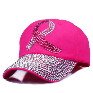 Colored Ribbon Women Studded Crystals Rhinestones Sequins Baseball Cap Pink Swag
