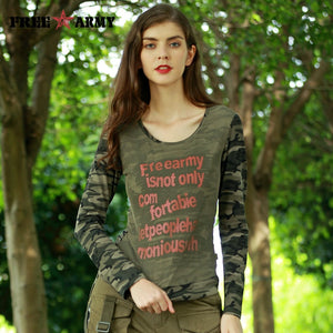 FREEARMY Brand Autumn Mesh Top Tees Women T Shirts Camouflage Long Sleeved