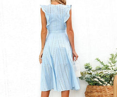 VIEUNSTA Women Ruffle Elegant Sundress Sexy Lace Boho Beach Party Dresses Summer O Neck Sleeveless Slim Blue White Women's Dress