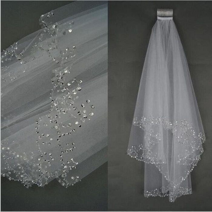 Short Beaded Wedding Veil Two Layer White/Ivory Sequin Tulle 75 CM Length