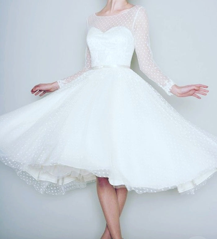 1905's Vintage White Long Sleeve Short Wedding Dress Women Bridal Dresses
