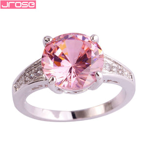 JROSE 10*10 mm Round Cut Pink & White CZ Silver Ring