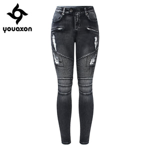 2168 Youaxon New Black Motorcycle Biker Zip Jeans Women`s Mid High Waist Stretch Denim Skinny Pants Motor Jeans For Women