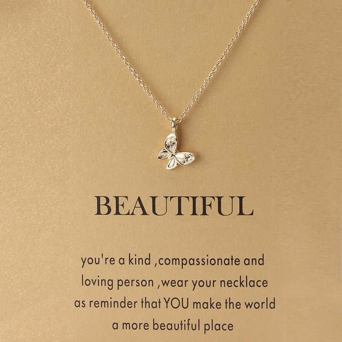 1pc Minimalist Butterfly Charms Wish Card Choker Collier Necklaces Links Chains Gold Plate