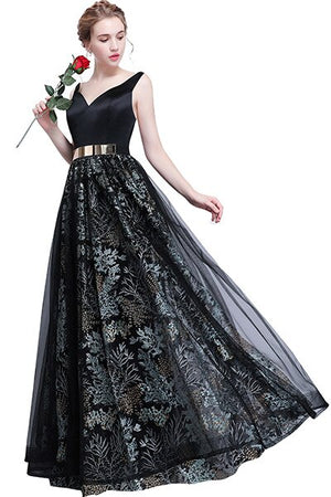 V Neck Prom Dresses Open Back Evening Party Dresses Formal Occasion