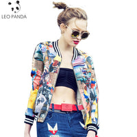 2018 New Fashion Women Bomber Jacket Printing Jaqueta Feminina Stand Collar Long Sleeve Casual Female Baseball Clothes Coat L548