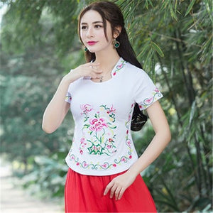 Embroidery Chinese Stlye Blouse Plus Size Blusa Feminina Summer Tops Blusas Shirt Womens Tops And Blouses Camisa Feminina