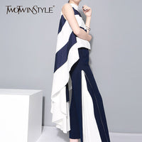 TWOTWINSTYLE Striped Chiffon Shirt For Women Sleeveless Stand Collar Draped High Waist Asymmetrical Long Blouse Summer Harajuku