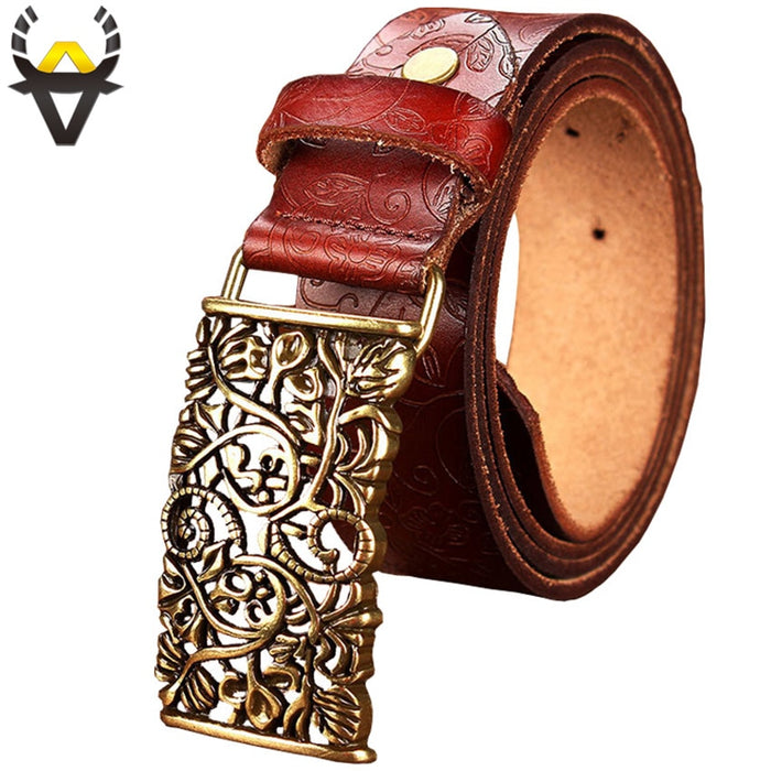 Fashion Genuine leather belts for women Vintage floral Pin buckle Wide belt woman High quality second layer cowskin strap female