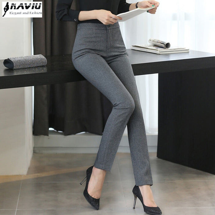 NAVIU Fashion Women trousers plus size Occupation OL spring autumn new Korean office ladies Slim Mid waist Dark gray pants