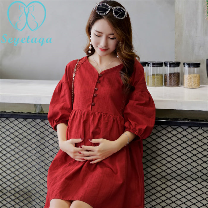 Summer Fashion Elegant Maternity Blouses A Line Loose Cotton Shirts Clothes