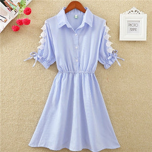 2019 Summer Women Dress Office Dress Shirt Elegant Blue Stripped Tunic
