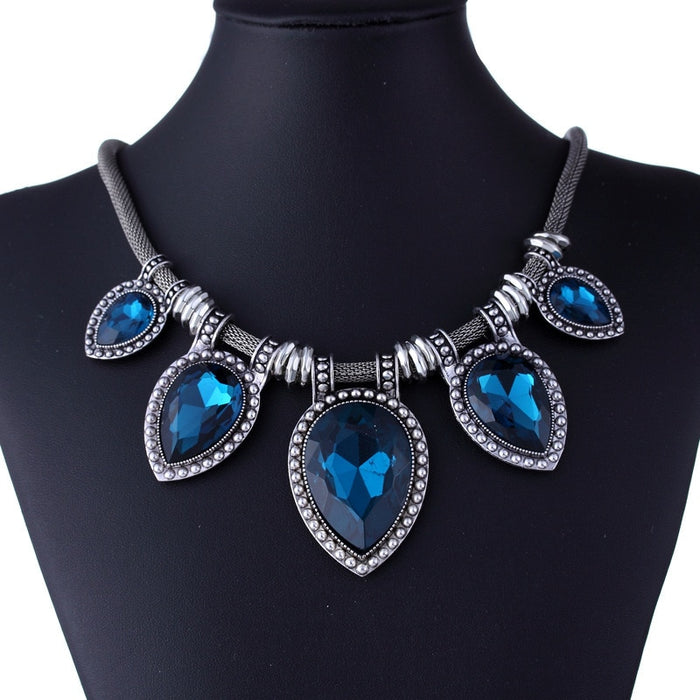 Luxury Vintage Women Choker Necklace Big Crystal Stone Jewelry Silver Chain