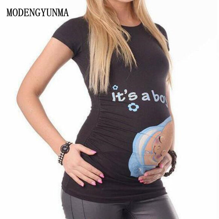 MODENGYUNMA Maternity tops for pregnant women short sleeve pregnant t shirt with baby girl print tees funny pregnancy t-shirts