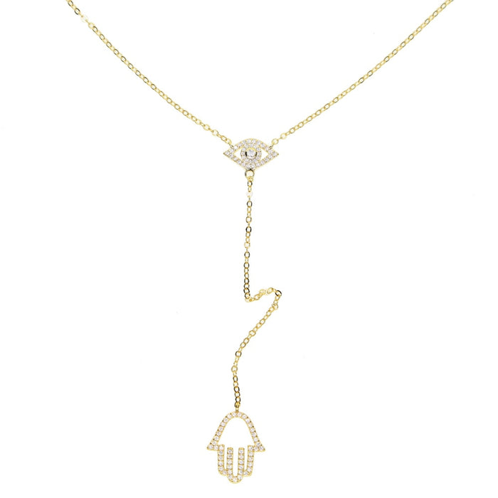 fashion jewelry turkish evil eye hamsa hand pendant micro pave clear cz Lariat Y shape Gold color stunning women necklace