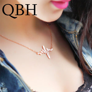 Clavicle Necklace Chain Dainty Collares Minimalist Heartbeat Pendants Collier
