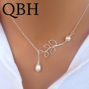 NK617 New Minimalist Leaf Imitation Pearl Pendants Necklaces For Women