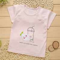 Cotton Soft Brief Newborn Baby Girls Boys T Shirt Clothes Cartoon Printed Buckle Shoulder Babies Clothes Short Sleeve Boys Tops