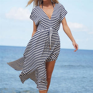 Striped Swimsuit cover up Beach Tunic Sarong Robe de Plage Beachwear kaftans long Beach Dress Womens Swim Wear #Q486
