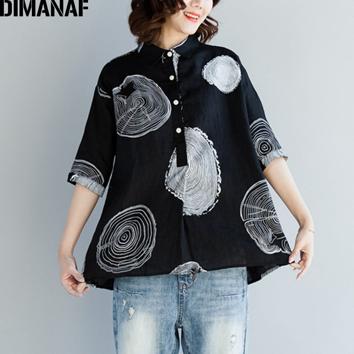 DIMANAF Women Blouse Shirts Plus Size Female Clothing Print Paisley Cotton Thin Basic Tops Loose Half Sleeve Blouse Summer 2018