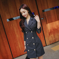 women OL temperament Striped Blazer Double Breasted Leisure Long Blazer Formal Jackets Suit Women woolen Package hip dress