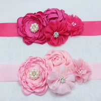 baby girl satin ribbon rosettes flower sash Belt bridesmaid chiffon Flower sash women Maternity sash belt accessories