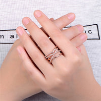 Rings Women Crystal Weave Stylish Rose Gold Winding Female Wedding Party