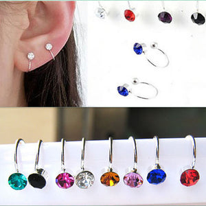 1pair Women Girl Clip On U Body Crystal Rhinestone Earring Stainless Steel Ear Cuff