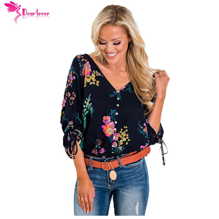 Dear Lover Blouse 2018 Female Autumn Women Shirts Vanilla Floral V-neck 3/4 Sleeve