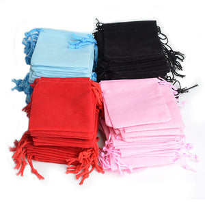 Hot New Cheap 100Pcs 5x7cm Velvet Drawstring Pouch Bag/Jewelry Bag,Christmas Wedding Gift Bags & Pouches De Bijoux