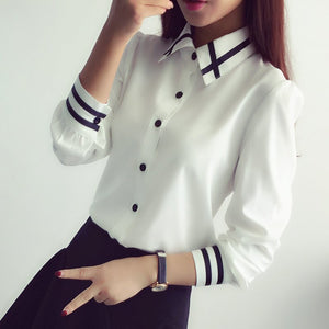 elegant bow tie white blouses Chiffon turn down collar tops school blouse Women