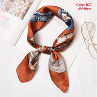 50*50cm Women Summer Vintage Square Silk Feel Satin Scarf Different Styles Skinny