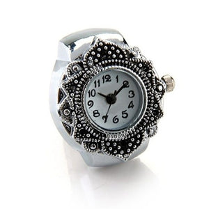 Nrpfell Silver Color Ring Watch For Women Men Lady Finger Ring Watch